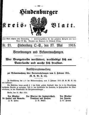 Zabrzer (Hindenburger) Kreisblatt vom 27.05.1915