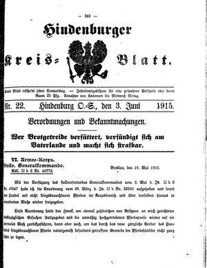 Zabrzer (Hindenburger) Kreisblatt on Jun 3, 1915