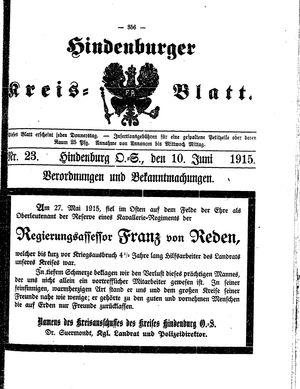 Zabrzer (Hindenburger) Kreisblatt vom 10.06.1915