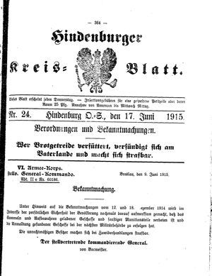 Zabrzer (Hindenburger) Kreisblatt vom 17.06.1915