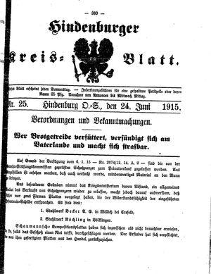Zabrzer (Hindenburger) Kreisblatt vom 24.06.1915