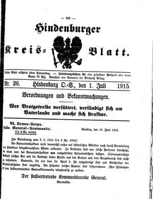 Zabrzer (Hindenburger) Kreisblatt vom 01.07.1915