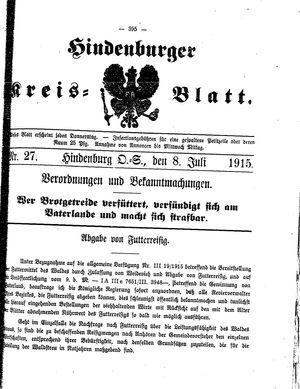 Zabrzer (Hindenburger) Kreisblatt vom 08.07.1915