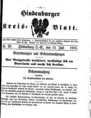 Zabrzer (Hindenburger) Kreisblatt vom 15.07.1915