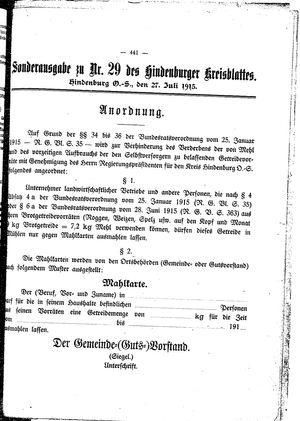 Zabrzer (Hindenburger) Kreisblatt vom 27.07.1915
