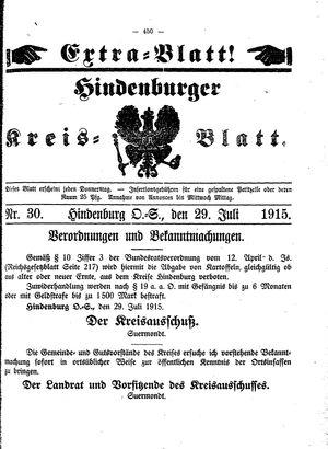 Zabrzer (Hindenburger) Kreisblatt vom 29.07.1915