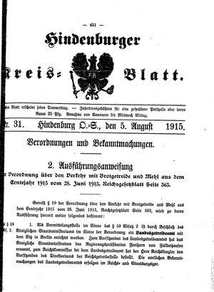 Zabrzer (Hindenburger) Kreisblatt vom 05.08.1915