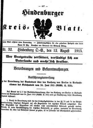Zabrzer (Hindenburger) Kreisblatt vom 12.08.1915