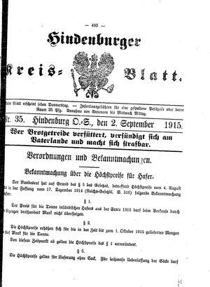 Zabrzer (Hindenburger) Kreisblatt vom 02.09.1915