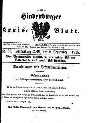 Zabrzer (Hindenburger) Kreisblatt vom 09.09.1915