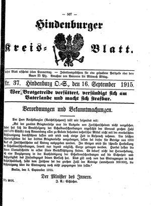 Zabrzer (Hindenburger) Kreisblatt vom 16.09.1915
