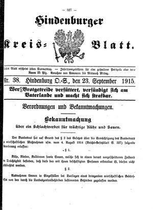 Zabrzer (Hindenburger) Kreisblatt vom 23.09.1915