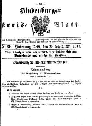 Zabrzer (Hindenburger) Kreisblatt vom 30.09.1915