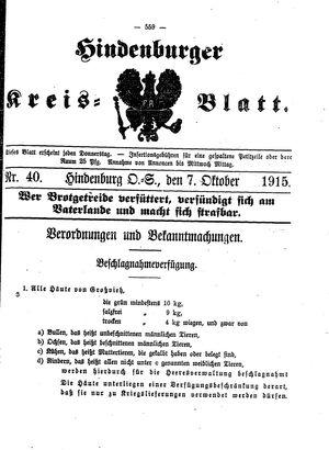 Zabrzer (Hindenburger) Kreisblatt vom 07.10.1915