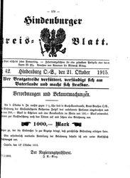 Zabrzer (Hindenburger) Kreisblatt (21.10.1915)