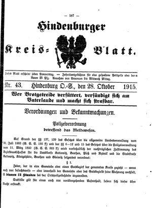 Zabrzer (Hindenburger) Kreisblatt on Oct 28, 1915