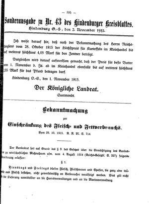 Zabrzer (Hindenburger) Kreisblatt vom 02.11.1915
