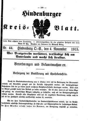 Zabrzer (Hindenburger) Kreisblatt vom 04.11.1915