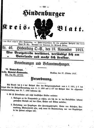 Zabrzer (Hindenburger) Kreisblatt vom 18.11.1915