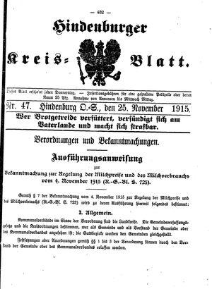 Zabrzer (Hindenburger) Kreisblatt vom 25.11.1915