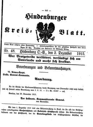 Zabrzer (Hindenburger) Kreisblatt vom 02.12.1915