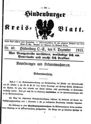 Zabrzer (Hindenburger) Kreisblatt vom 09.12.1915