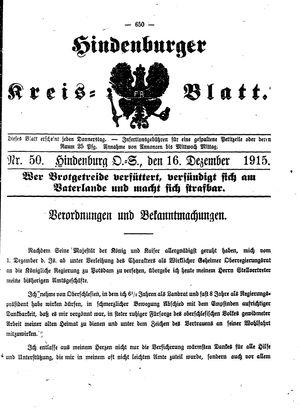 Zabrzer (Hindenburger) Kreisblatt vom 16.12.1915