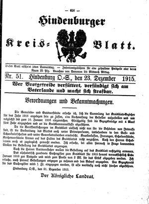 Zabrzer (Hindenburger) Kreisblatt vom 23.12.1915