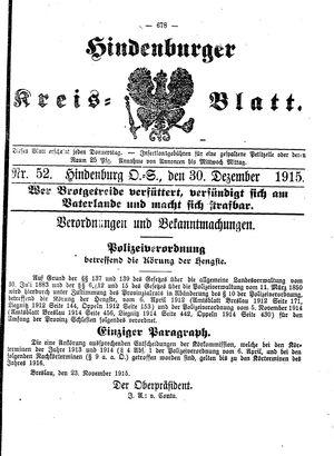 Zabrzer (Hindenburger) Kreisblatt vom 30.12.1915