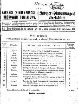 Zabrzer (Hindenburger) Kreisblatt vom 06.01.1921