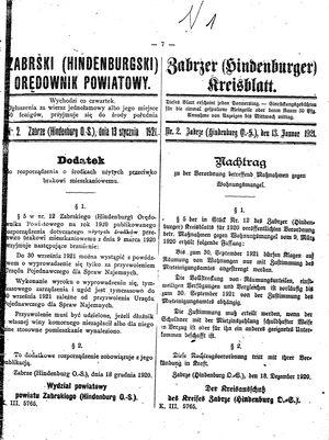 Zabrzer (Hindenburger) Kreisblatt vom 13.01.1921