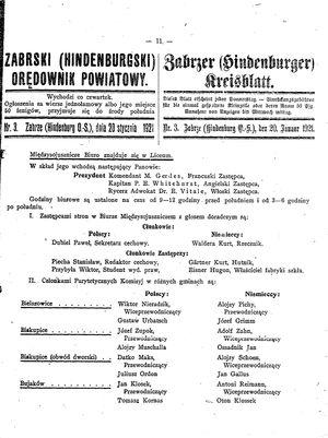 Zabrzer (Hindenburger) Kreisblatt vom 20.01.1921