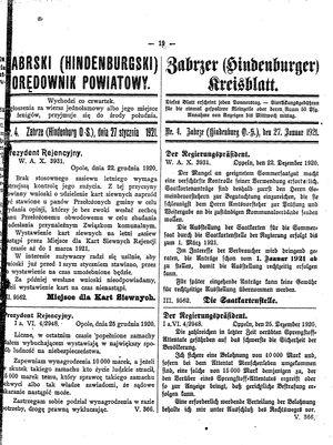 Zabrzer (Hindenburger) Kreisblatt vom 27.01.1921