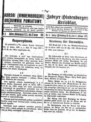 Zabrzer (Hindenburger) Kreisblatt vom 03.02.1921