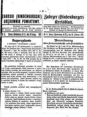 Zabrzer (Hindenburger) Kreisblatt vom 10.02.1921