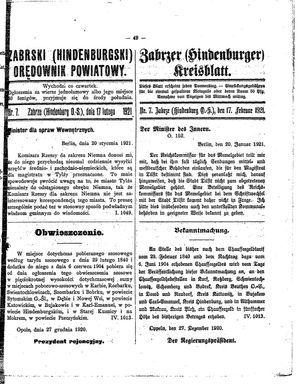 Zabrzer (Hindenburger) Kreisblatt on Feb 17, 1921