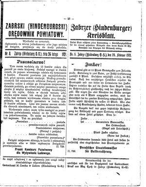 Zabrzer (Hindenburger) Kreisblatt vom 24.02.1921