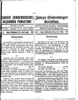 Zabrzer (Hindenburger) Kreisblatt vom 03.03.1921