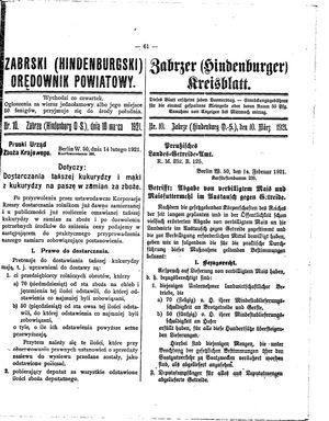 Zabrzer (Hindenburger) Kreisblatt vom 10.03.1921