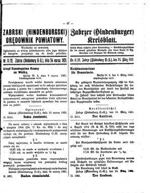 Zabrzer (Hindenburger) Kreisblatt vom 24.03.1921