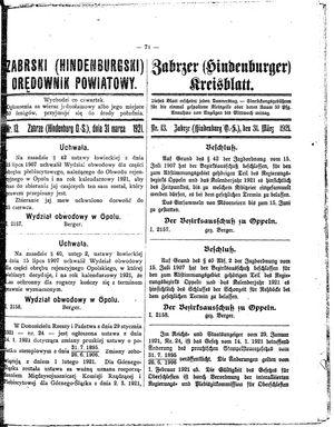Zabrzer (Hindenburger) Kreisblatt vom 31.03.1921