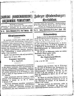 Zabrzer (Hindenburger) Kreisblatt vom 07.04.1921