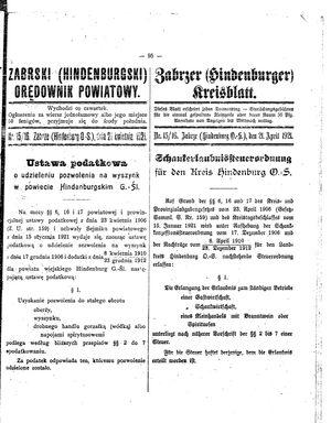 Zabrzer (Hindenburger) Kreisblatt vom 21.04.1921