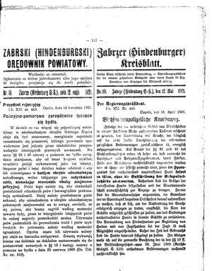 Zabrzer (Hindenburger) Kreisblatt vom 12.05.1921