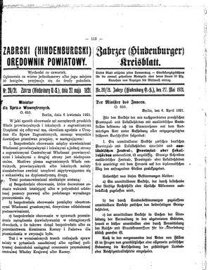 Zabrzer (Hindenburger) Kreisblatt on May 27, 1921