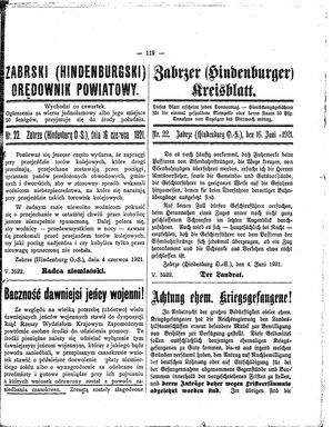 Zabrzer (Hindenburger) Kreisblatt vom 16.06.1921