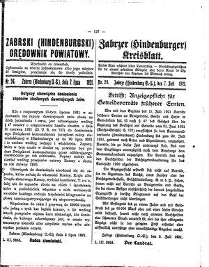 Zabrzer (Hindenburger) Kreisblatt vom 07.07.1921