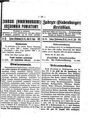 Zabrzer (Hindenburger) Kreisblatt on Jul 21, 1921