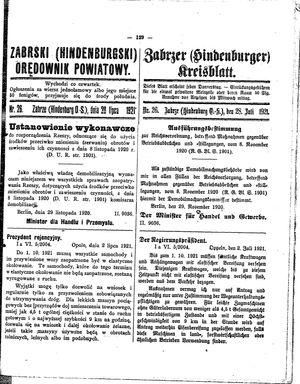 Zabrzer (Hindenburger) Kreisblatt vom 28.07.1921