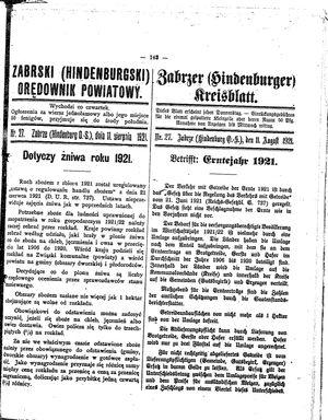 Zabrzer (Hindenburger) Kreisblatt vom 11.08.1921